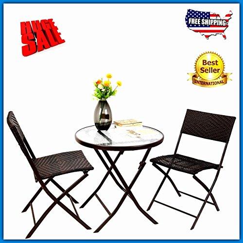 Bistro Table Set 2-Seater 3pc Brown Rattan Metal Wicker S...