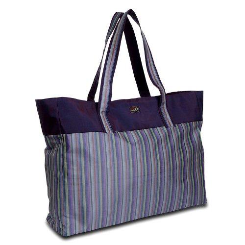 della Q Agnes Knitting Bag (24'' L x 14.5'' H x 5'' W); 018 Purple Stripes 405-1-018 by della Q