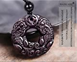 HASKARE Natural Energy Stone Pendant Engraved Black Obsidian Healing Necklace Adjustable Size 27.5inch