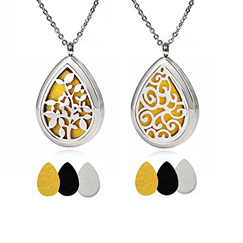 2 Pack Aromatherapy Essential Oil Diffuser Necklace, Stainless Steel Locket Pendant with 24″ Beads Chain and 6 Color Felt Pads ,present gift for your lover
