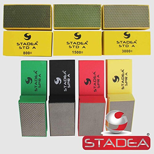 Buffer Etc Floor Pads (Stadea HPW109K Diamond Hand Polishing Pads - Marble Glass Concrete Stone Terazzo Polishing, 7 Pads Set)