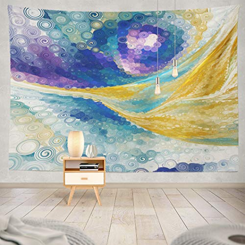 (Kutita Tapestry Wall Hanging Abstract Yellow and Blue Fantasy Psychedelic Digital Fractal Art Art Wall Tapestry Home Decorations for Bedroom Living Room Dorm Decor in 80