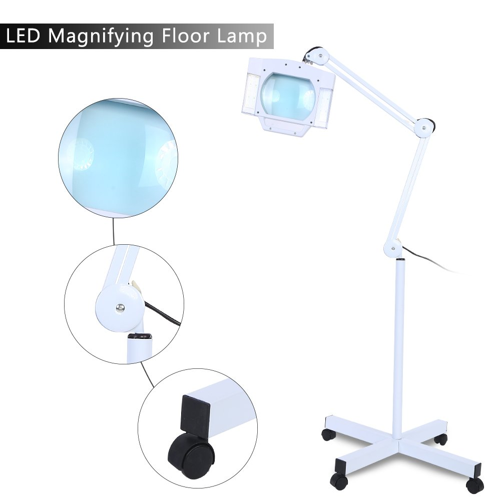 Magnifying Lamp, Adjustable Pro LED Magnifying Floor Lamp Daylight Bright Magnifier Lighted Glass Lens for Reading Task Craft by Zerone (Image #5)