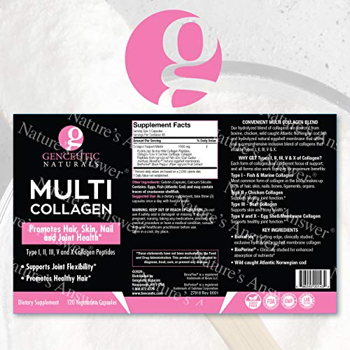 Genceutic Naturals Multi Collagen Capsules Types I, II, III, V & X - 120 Veg Caps -for Healthy Hair Skin, Nails 1500mg Non-GMO, Pasture-Raised, cage Free and Cruelty Free Source