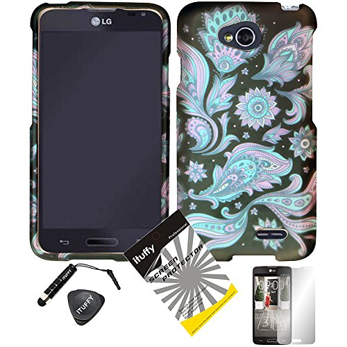 - 4 items Combo: ITUFFY (TM) LCD Screen Protector Film + Mini Stylus Pen + Case Opener + Black Pink Blue Paisley Sun Flower Design Rubberized Snap on Hard Shell Cover Faceplate Skin Phone Case for Android Smart Phone LG Optimus L90 / LG D415 (T-Mobile) (Paisley Flower)