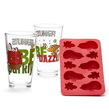 Peanuts 3-piece Pint Glass & Ice Cube Tray Set