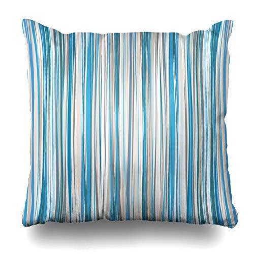 Brown Geometric Pattern - Ahawoso Throw Pillow Cover Square 24x24 Inches Pinstripe Brown Line Blue Beige White Striped Pattern Contrast Stripe Tan Strip Straight Geometric Zippered Cushion Pillow Case Home Decor Pillowcase