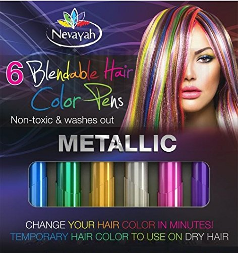 [Nevayah Hair Chalk Temporary Hair Multicolor Dye Pens,  Purple / Sapphire Blue / Pink / Gold / Silver / Green (6 Pens)|Silver and Green Rainbow Colors Last Up to 3 Days with Built In Sealant. Works on All Hair Colors. Great for Tinting] (Quick Costume Ideas For Work)