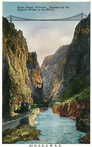 Royal Gorge, Colorado - View of the Bridge and Denver and Rio Grand Railroad Train (9x12 Fine Art Print, Home Wall Decor Artwork Poster)