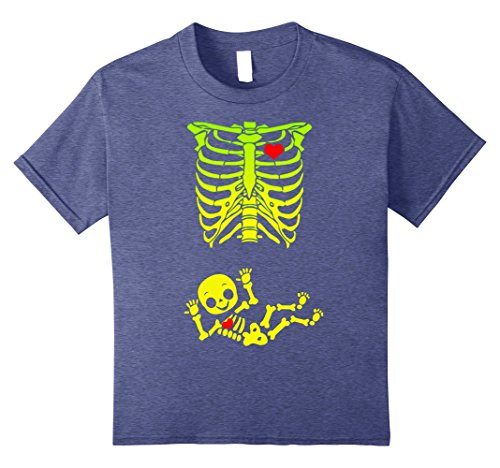 Halloween Costumes For Pregnant Woman (Kids Halloween Pregnant Skeleton Xray Costume T-Shirt 8 Heather Blue)