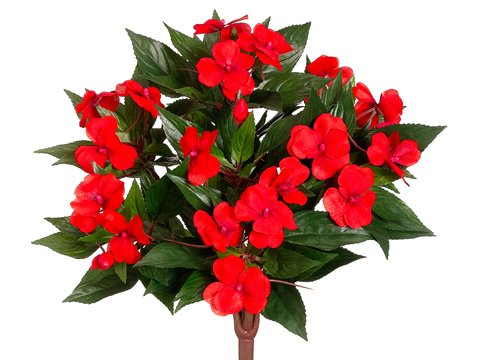 """13.5"""" Silk New Guinea Impatiens Flower Bush -Tomato Red (case of 6)"""