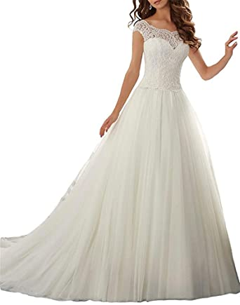 hiprom a line cap sleeves lace wedding dress long prom dresses at