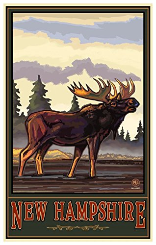 New Hampshire Bugeling Moose Side Forest Travel Art Print Poster by Paul A. Lanquist (12