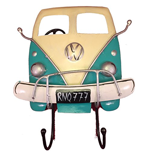 VW Bus Wall Hook - Handmade Recycled Iron Decorative Wall-Mounted Hanging Organizer (Aqua)