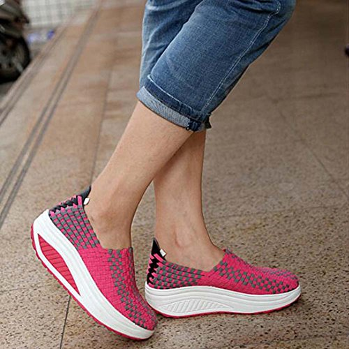 Platform Wedges Casual Sneakers Summer Shoes Weaved Women's Rose Sandals ANDAY pvgTv