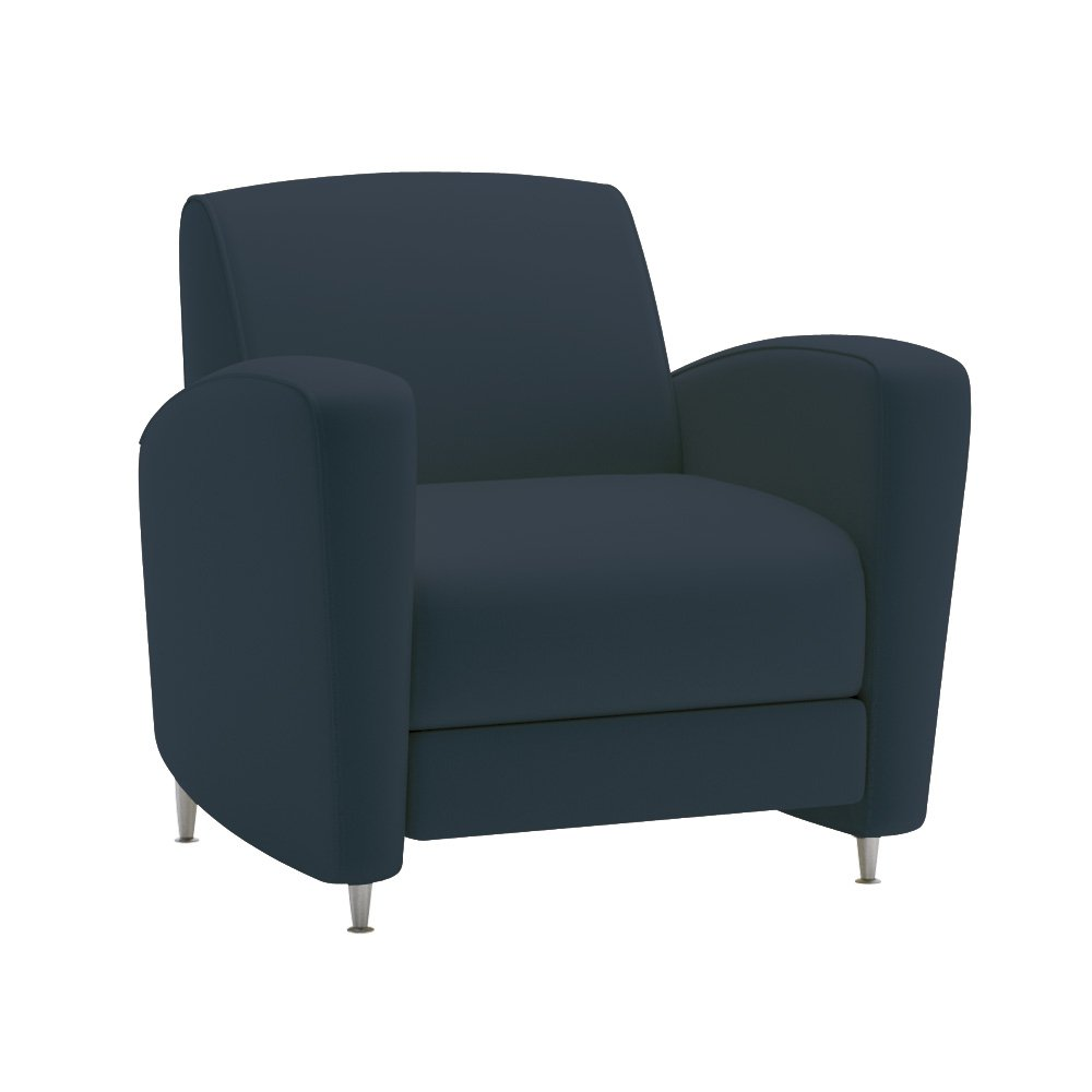 National Office Furniture Reno 1 Seat Lounge Chair with Satin Nickel Legs - Navy Faux Leather