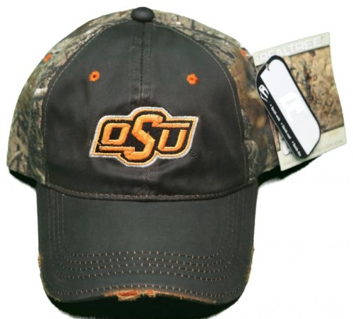 NEW! Oklahoma State Cowboys Buckle Back Embroidered RealTree Distressed Camo Cap