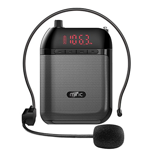 Miric Portable Voice Amplifier, Mini PA Speaker System with Supports MP3 / TF / USB Drive / FM Radio, Bluetooth Speaker, Portable Loudspeaker Megaphone for Teachers, Tour Guides, Coaches, Sales Promot