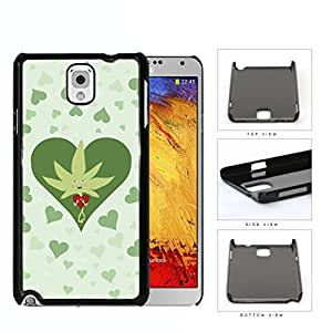 Weed Leaf Valentine And Green Hearts Hard Plastic Snap On Cell Phone Case Samsung Galaxy Note 3 III N9000 N9002 N9005