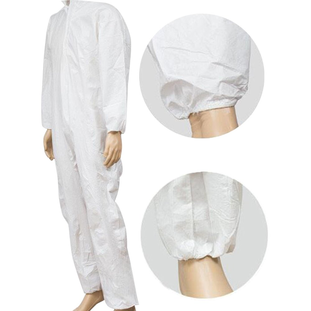 Zinnor Disposable Hooded Coveralls Chemical Protective Suits, Elastic Cuffs, Front Zipper Closure ,Serged Seams for Spray Painting Surgical Industrial (Large, White) by Zinnor (Image #4)