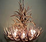 REAL ANTLER CHANDELIER, 8 LIGHTS, SHED WHITETAIL ANTLER ART, ELK COVERED SOCKETS HANDMADE 27''wide x 20'' tall