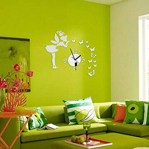 Mirror Wall - Butterfly Girl Wall Clock Modern Design Kids Room Mirror 3d Crystal Fashion - Decals Stick Bracket Sconce 3d Vinyl Oval Room Plate Magnify -