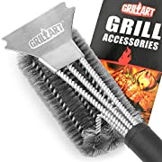"""#LightningDeal GRILLART Grill Brush and Scraper Best BBQ Brush for Grill, Safe 18"""" Stainless Steel Woven Wire 3 in 1 Bristles Grill Cleaning Brush for Weber Gas/Charcoal Grill, Gifts for Grill Wizard Grate Cleaner"""