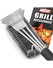 """GRILLART Grill Brush and Scraper Best BBQ Brush for Grill, Safe 18"""" Stainless Steel Woven Wire 3 in 1 Bristles Grill Cleaning Brush for Weber Gas/Charcoal Grill, Gifts for Grill Wizard Grate Cleaner"""