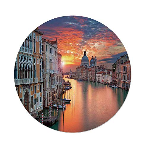 Polyester Round Tablecloth,Cityscape,Image of Grand Canal in Venice Horizon European Town International Heritage Urban,Multi,Dining Room Kitchen Picnic Table Cloth Cover,for Outdoor Indoor