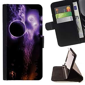 For Samsung Galaxy Note 3 III Case , Espacio Planetas Noche Eclipse púrpura- la tarjeta de Crédito Slots PU Funda de cuero Monedero caso cubierta de piel