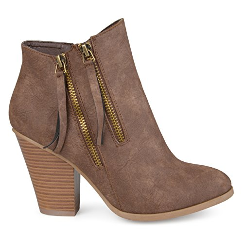 (Brinley Co. Womens Faux Leather Stacked Wood Heel Double Zipper Booties Brown, 7 Regular US)