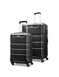 Samsonite Invoke 2-Piece Nested Hardside Luggage Set (Spinner 19/Spinner 28), Black, Checked – Large (Model: 104097-1041)