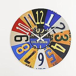 Surf To Summit License Plate Clock Plasma Cut Aluminum USA License Plate Sign Vintage Decor Garage Art Car Tag Plates Wall Art Custom Metal Housewarming Art Garage Clock