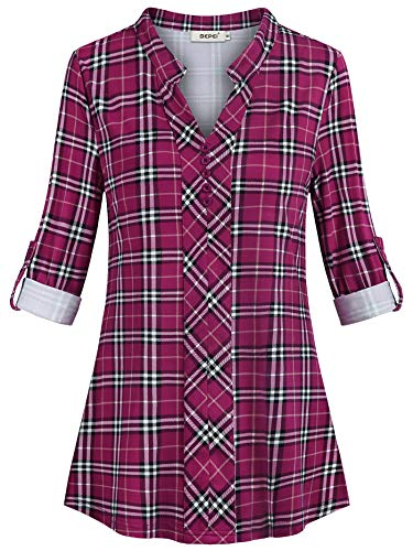 BEPEI Women Tops and Blouses,Elegant Comfy Swanlike Deep V Neck Tartan Buttons Decorative Western Shirts Roll Tab Full Sleeve Modest Tunic Feminine Detail Winter Warm Clothing Sweatshirt Purple Red XL