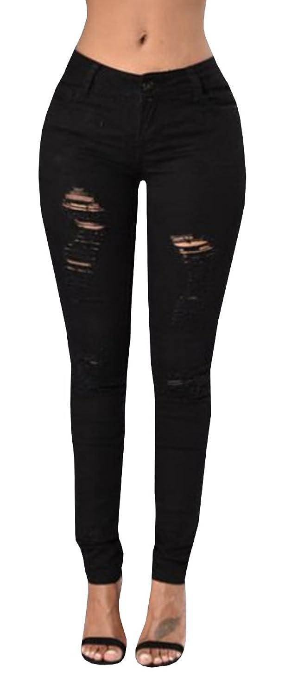 Ermonn Women's High Waist Distressed Ripped Denim Jeans Stretch Pants