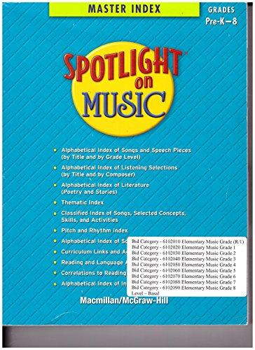 Spotlight on Music, Grades Pre K-8, Master Index (ELEMENTARY SPOTLIGHT ON (Elementary Choral Music)