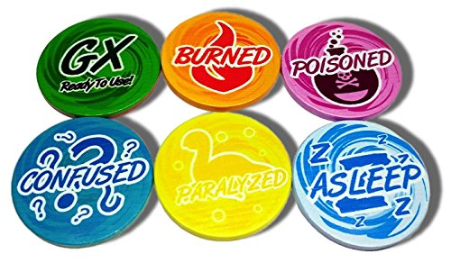 Set of 6 Pokemon Status Tokens with GX Double-Sided Token - Poisoned, Asleep, Burned, Paralyzed, Confused