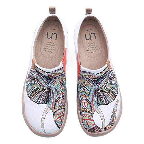 (UIN Women's Men Unisex Elephant Painted Canvas Slip-On Fashion Ladies Travel Shoes (7))