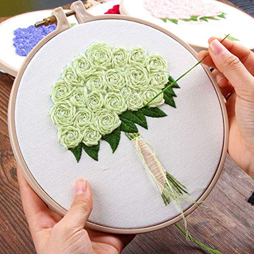(V2AMZ - DIY Flower Regiment Embroidery with Tools Kit Handkerchief for Valentines Day Gift DIY Knitting Product)