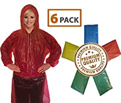 Rain Poncho for Adults (6 Pack) | Drawst...