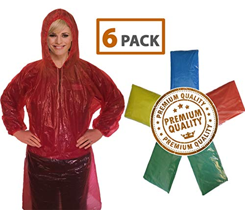 Rain Poncho for Adults (6 Pack) | Drawstring Hood and Elastic Sleeve Ends | 50% Thicker Quality Material | Emergency Disposable Rain Poncho | Assorted Colors | 100% Waterproof