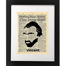 Vincent Van Gogh Quote - Nothing More Artistic Than Loving People - Vintage Dictionary Print 8x10 inch Home Vintage Art Abstract Prints Wall Art for Home Decor Wall Office Ready-to-Frame