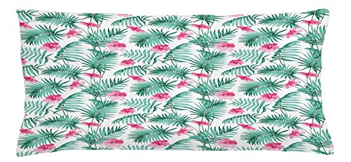 Ambesonne Watercolor Throw Pillow Cushion Cover, Tropical Ferns with Flowers Exotic Hawaii Floral Arrangement Blossoming Nature, Decorative Square Accent Pillow Case, 36 X 16 inches, Seafoam Pink by Ambesonne