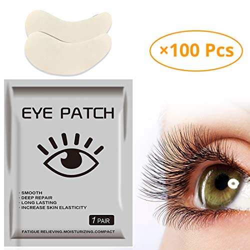 ifory 100 Pieces Upgrade Eye Gel Pads For Eyelash Extension, Lint Free Patches with Aloe Vera and Hydrogel, Moisturizing Eye Pads