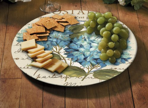 CounterArt Susan Lazy Susan Serving Plate, Blue Hydrangeas