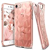 iPhone 7 Case, Ringke [AIR PRISM] 3D Vogue Design Chic Ultra Rad Pyramid Stylish Diamond Pattern Flexible Jewel-Like Textured Protective TPU Drop Resistant Cover For Apple iPhone 7 - Rose Gold