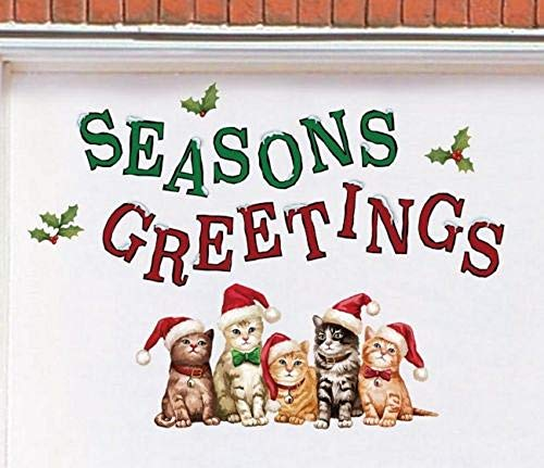 tksherlock Seasons Greetings Santa Cats Christmas Garage Door Magnets Outdoor Winter Decor