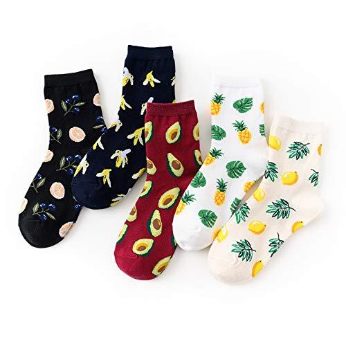 motivo: banana avocado limone 6 paia di calze da donna per frutta e verdura divertenti ciliegia ananas in cotone