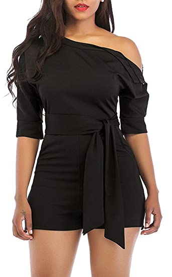 b703b1eb1825 Black Women Sexy One Shoulder Solid Jumpsuit Elegant Short Romper Pant with  Belt
