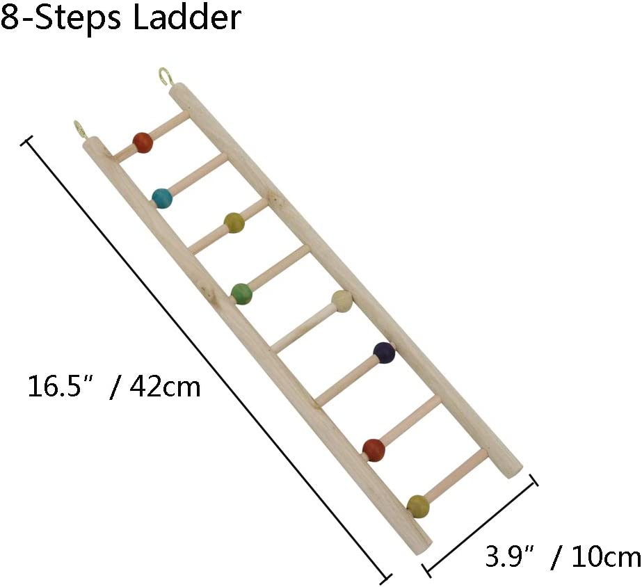 Parrot Climbing Hanging Ladders Perches Toys Cage Accessories for Small and Medium Parrots Parakeets Cockatiels Lovebirds Sun Conures Caique Finches Hamsters YINGGE Wooden Bird Ladder Toy